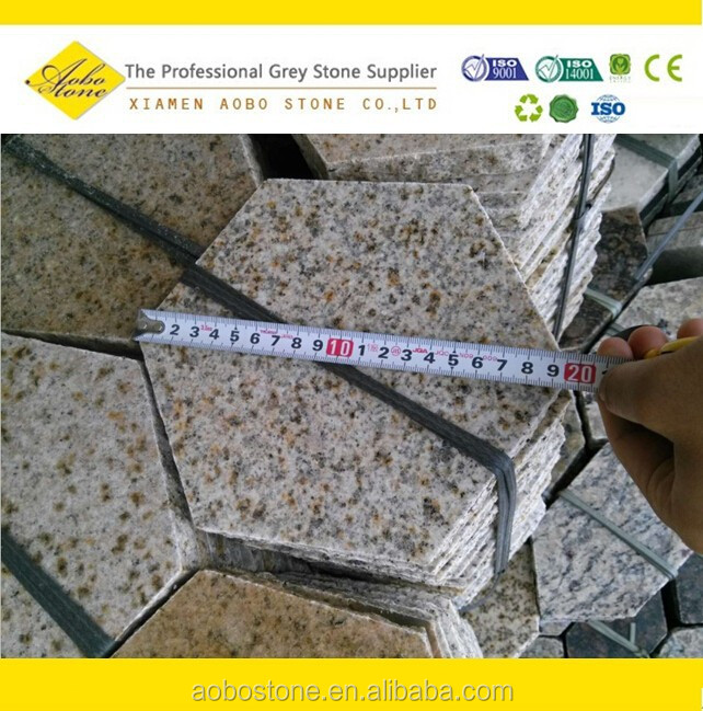 Irregular Six Point Rustry Granite paver, bush hammered G682 hexagon paver