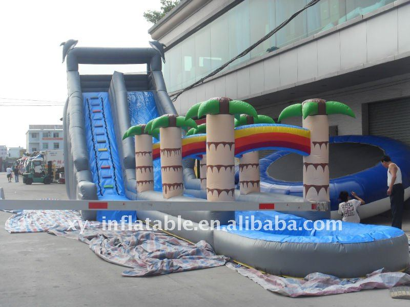 Tropical 0.55mm pvc material Tunnel Slide inflatable slip and slide