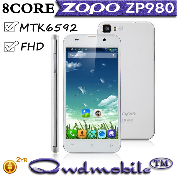 Octa Core ZOPO ZP980+ Platinum MT6592 RAM 1GB ROM 32GB 14MP 5MP Camera Smart Mobile Phone ZOPO ZP980+ Mobile Phone