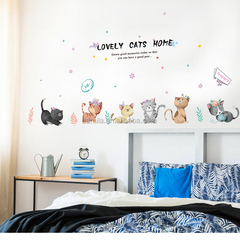 Lovely cartoon baby cat wall stickers for sofa bedroom living room adesivo de parede cartoon kids room wall decal
