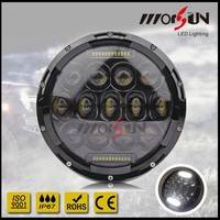 "Black Bezel 75W Philip 7"" Round LED Headlights + White Switchback LED Halo DRL For Jeep Wrangler, CJ Also Any car MS-HL75A"