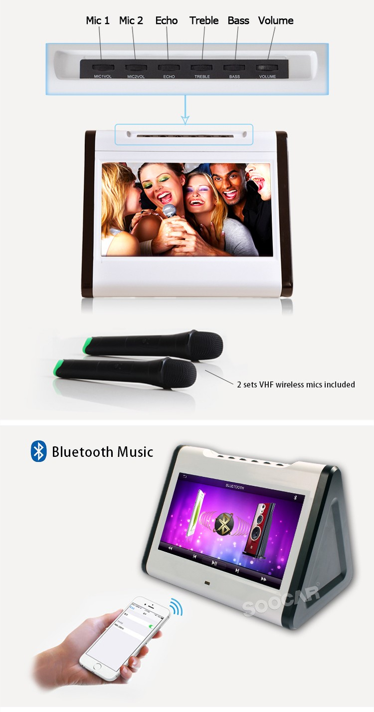 Android Mini Karaoke Player with VHF wireless Mic and Bass Treble Echo mixer
