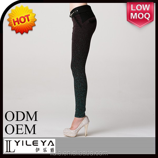 Fashional designed tight bule ladies stretch pants