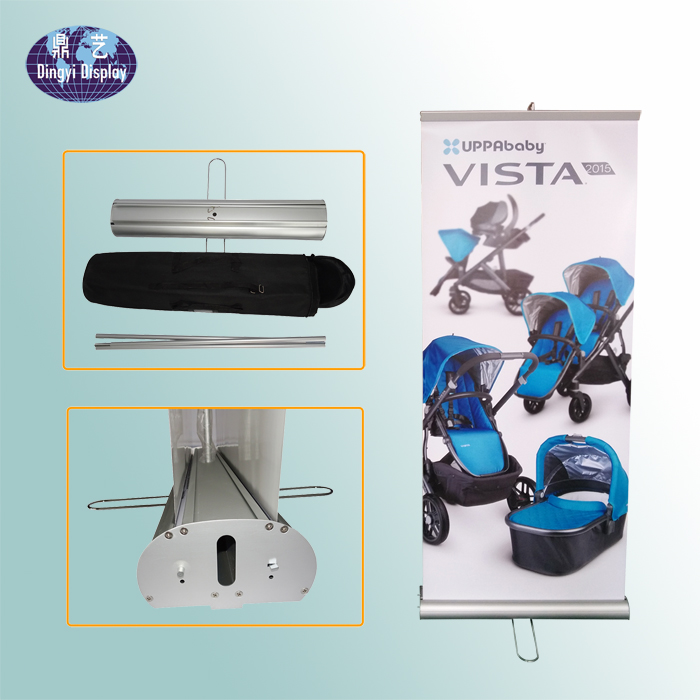 One Wide Steel feet 80*200 Double Sided Retractable Banner Stands