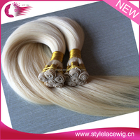 New arrival best quality bleached full cuticle brazilian blonde hand made weft