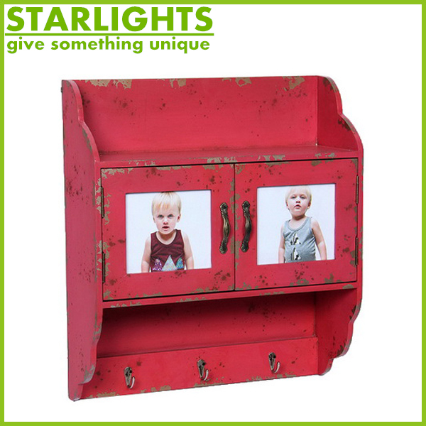 Wall mounted wooden chest with doors and hooks