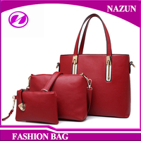 Wine red Fashion Handbag Purse And Wallet Women Leather Hand Bags Set