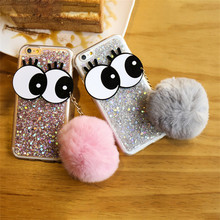Luxury Bling Sequins Silicone Cases Glitter Big Eyes Cute Phone Cases For iPhone 6s/6/7 Plus