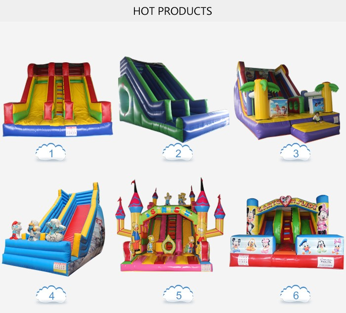 2016 cheap china customized pvc beautiful tropical inflatable slide