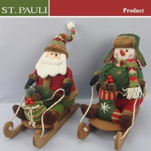 popular christmas holiday indoor decorative santa father and snowman ride on wood christmas sleighs
