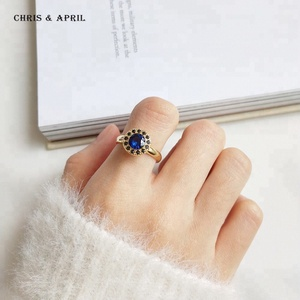 Yellow Gold Manmade Sapphire 925 Sterling Silver Rings for Women