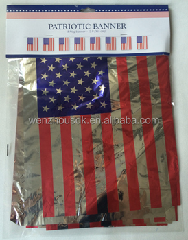 Personalized USA National Day PE Silver Foil flag banners