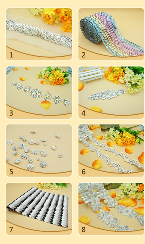 Floral Elegant Crystal Clear Glass Rhinestone Applique Bridal Trim/Chain Silver