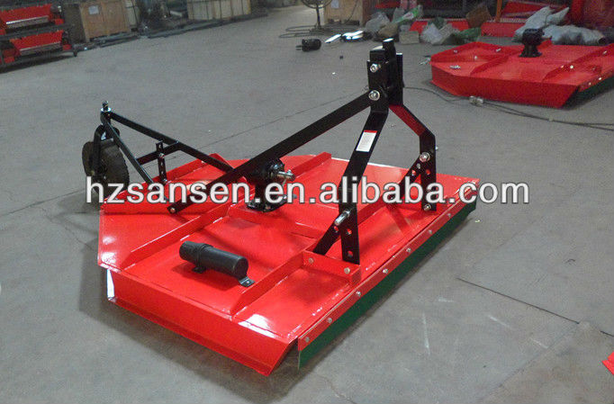 Tractor 3-point hitch mounted rotary cutter mower with support wheel; tractor grass cutter