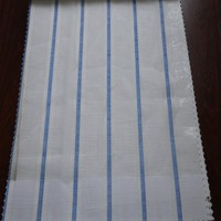 2015 Hot new hotel hall woven blue stripe white sheer tulle curtain fabric for decor