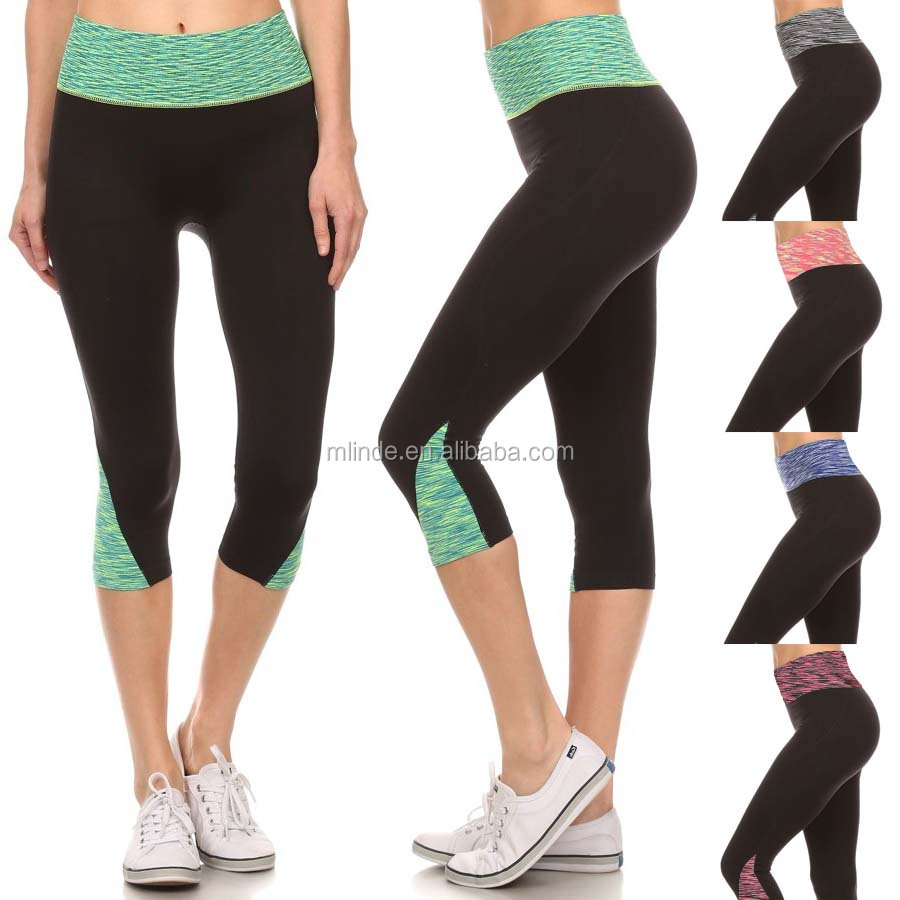 Private Label Leggings Banded High Waist SPACE DYE BLOCKED Cropped Active Wear CAPRI PANTS Training Tights Spandex For Women