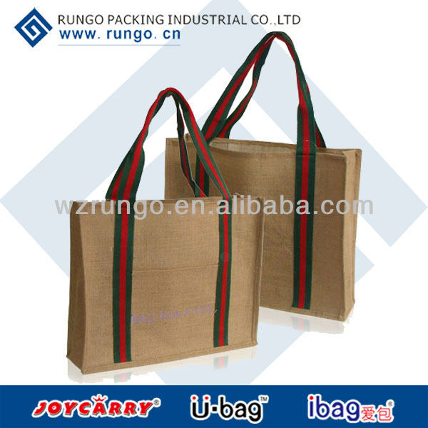 2015 Recycled standing jute bag for shopping