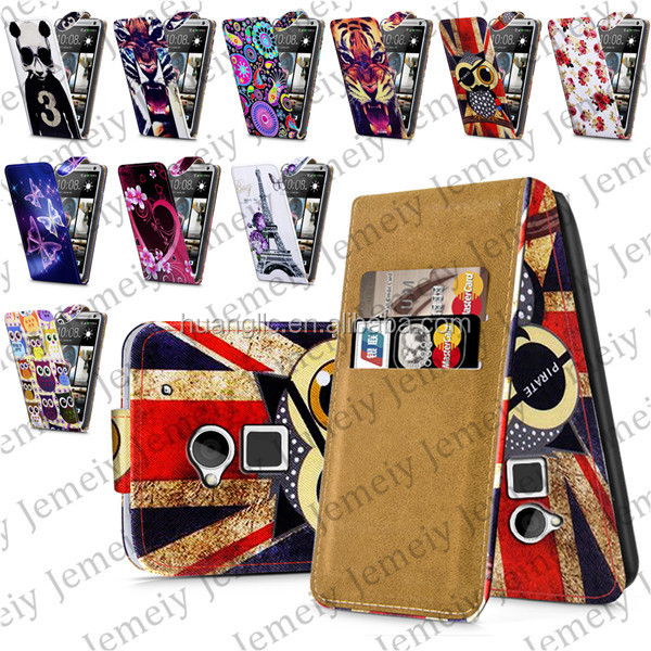 Stylish Printing PU Leather with ID Credit Card Wallet Flip Case Cover For HTC One <strong>max</strong>