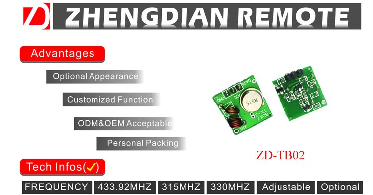 ZD-TB02 433MHZ RF wireless transmitter module with long transmitting range