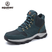 China Wholesale Aquatwo Brand Outdoor Waterproof Genuine Leather Winter Action Trekking Shoes Hiking Boots for Men