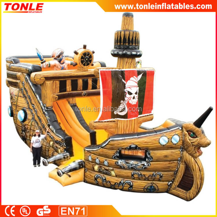 PVC Giant Wooden Pirate Ship, Inflatable Ship Water Slide for party, Playground Wet slide for sale
