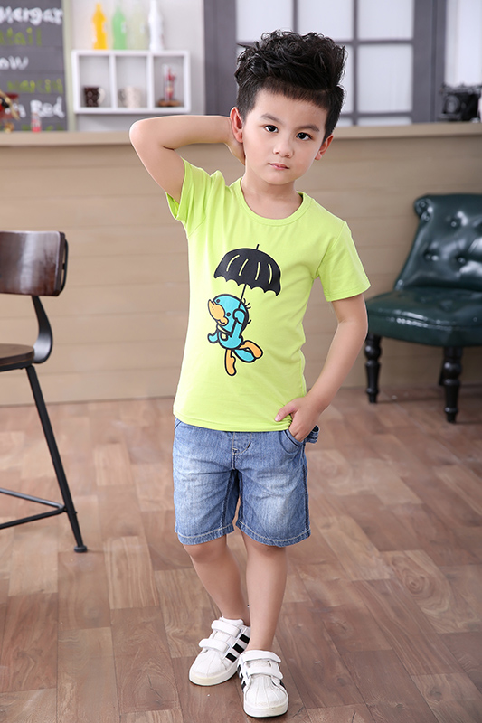 kids wear new model for short sleeve cotton o-neck print t shirt