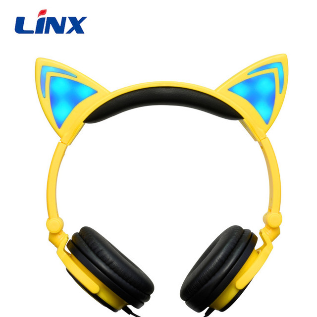 Cheap Stylish Earphones Cute Over Ear Cat Ear Girl Girly Headphone Headset