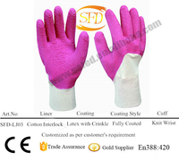 Safety Cuff Woven Fabric Coated Latex Gloves Work Free Samples