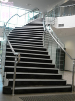 high grade outdoor stair glass railing banister