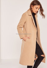 Petite brown longline wool duster coat women long winter coats
