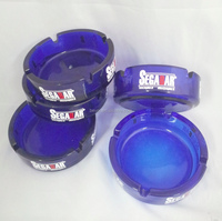 blue round glass ashtray with customer's logo