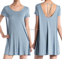 Wholesale Hot sale women sexy summer knit strappy mini dress pakistani ladies new boutique dress STRAPPY BACK SHORT SLEEVE DRESS