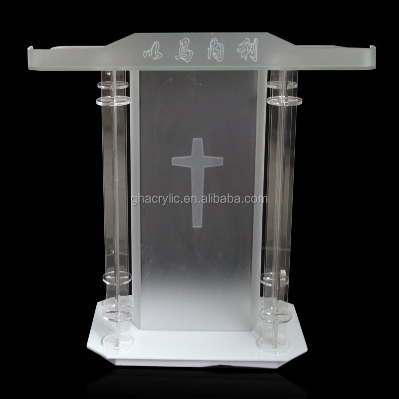 factory sell plastic pulpit modern design crystal podium
