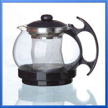 HOT SALE 2013 stainless steel filter and lid blooming tea hand made pyrex glass teapot