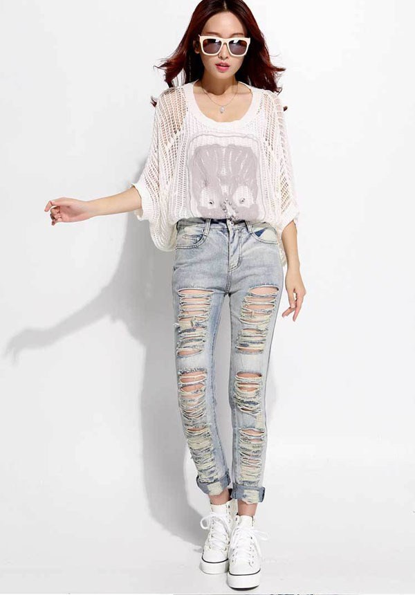 New summer women jeans high quality European style hole ripped skinny denim trousers Slim pants fashion designer