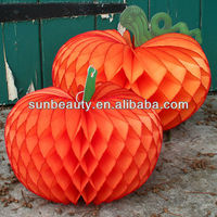 Decorating Honeycomb Paper Pumpkin for 2014 Halloween