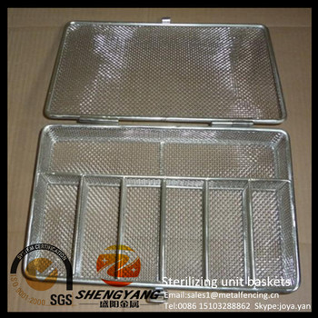 Acid resistance stainless steel laboratory cleaning mesh containers sterile storage trays medical used sterilizing unit baskets