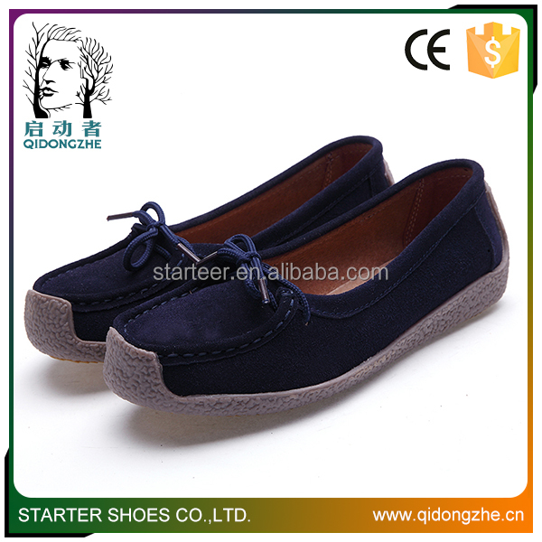 Ladies leather rubber soles flat shoes in china