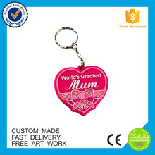 High quality manufacturer design heart shape pvc keyring