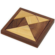 Handmade Wooden Tangram 7-Piece Jigsaw Puzzle Games for Children - Unique Kids Gifts