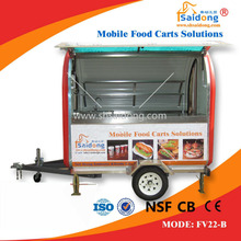 Top sale big wheels big size food trailer hot dog trailer hand push food traier cart for fast food