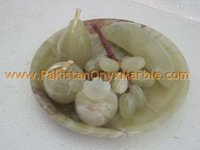 HAND CARVED ONYX FRUITS PLATES /ONYX HANDICRAFTS