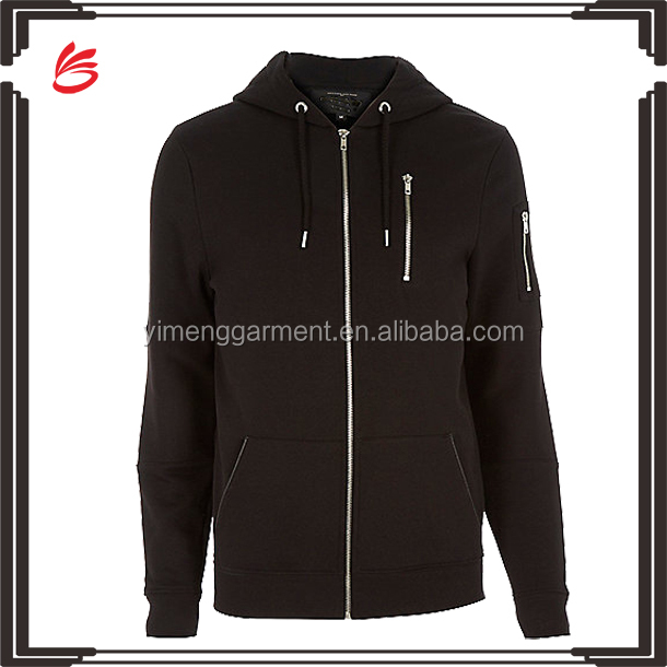Top quality 100% cotton french terry hoodie jacket men wholesale