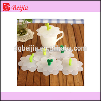 Colorful Unbreakable Eco-Friendly flower shape Silicone Rubber Coffee Cup bowl pot cover spill stopper Lid