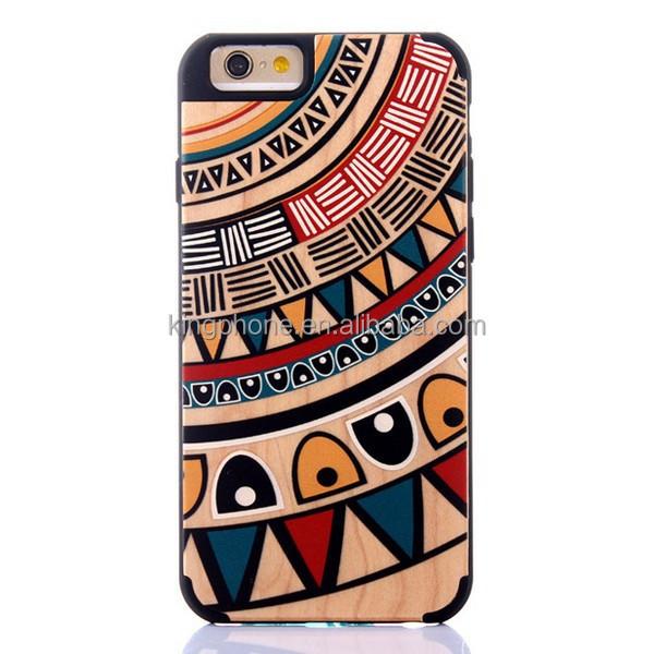 Printed phone wood case for iphone 6, lovely patterns with unique fashion,2015 new arrival