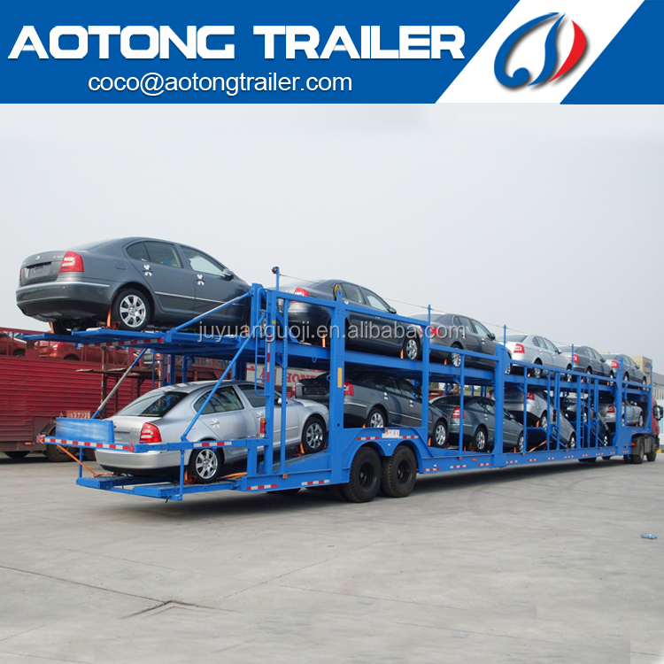 Cheap aotong brand hydraulic cylinders <strong>car</strong> carrier semi truck trailer 2 <strong>axles</strong> <strong>car</strong> hauler trailer for sale
