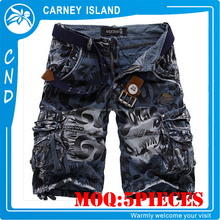 OEM Service mens cotton blank washed cargo shorts