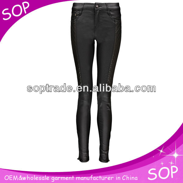2014 cheap quilted coated skinny latest jeans model with ankle zip china supplier