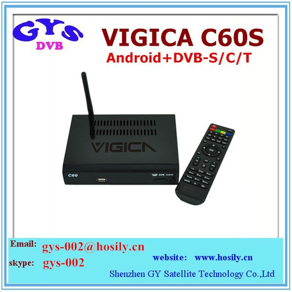 2014 New Arrival Google Android 4.2 smart TV BOX Amlogic8726-MX Android+ DVB-S2 VIGICA C60S TV receiver with IPTV and CCCAM