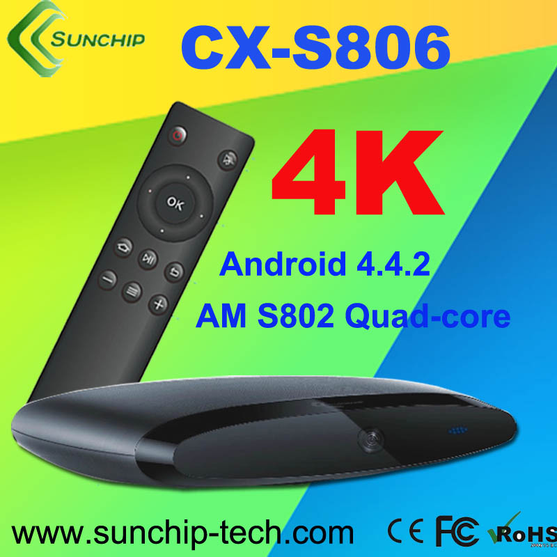 Cheapest Minix X806 Andriod 4.4 Amlogic S802 Quad Core TV Box 2.0GHz 2G RAM 8G Flash Bluetooth 4K*2K with Remote m8